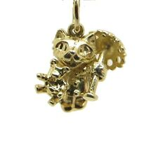 New 9ct Solid Gold Cat Kitten with Teddy Bear and Umbrella Charm Charms Pendant