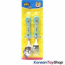 Pororo Stainless Steel Spoon Fork Set Wave Blue / BPA Free / Made in Korea