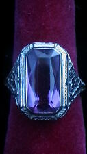 ANTIQUE 18K WHITE GOLD FILIGREE AMETHYST RING SIZE 7.75