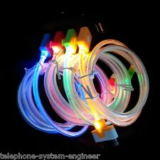 1M LED GLOW FADE USB DATA SYNC CHARGER CABLE LEAD FOR iPHONE 4 4S iPod iPad 1 2