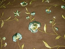 ~11 3/8 YDS~FLOWERS~EMBROIDERED COTTON DRAPERY UPHOLSTERY FABRIC FOR LESS~
