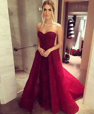 Lace Sweetheart Long Burgundy Evening Gowns 2017 Prom Dress Detachable Skirt