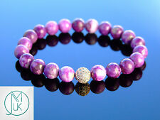 Sugilite Rose Gold Micro Pave Gemstone Bracelet Beaded 7-8'' Elasticated Healing