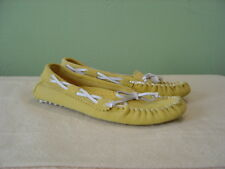 Women's LAND'S END Yellow and White Moccasin Slippers Size 6M