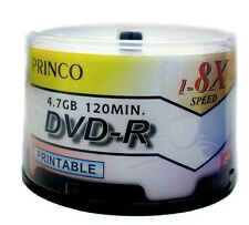 200 Princo 8X White Inkjet Printable DVD-R Disc 4.7GB Free Expedited Shipping