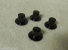 (6) Mini Plastic Black Top Hats Snowman or Wedding Shower Party Favor 19x11mm