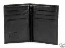 New Slim Thin Mens Bifold Leather ID Wallet Black Credit Card Holder Zipper 760