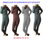 Womens Tracksuit Ladies Ribbed Lace up Loungewear Set Sweatshirt Joggers Pants