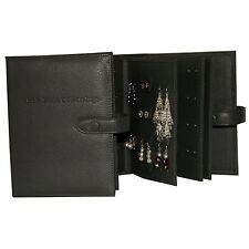 Large Leather Little Book Of Earrings Black 4 Page Jewellery Storage Box Gift