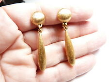 Vintage Signed Monet Brushed Gold Tone Metal Dangle Clip On Earrings