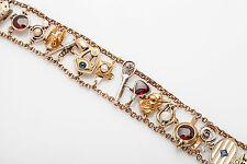 Antique 1920s Natural Garnet Sapphire Pearl Diamond 14k Gold Charm Bracelet 43g