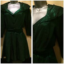 Vintage 80s Green Satin Disco Jacket & Rara Skirt Suit Sz 6 / 8 Fancy Dress
