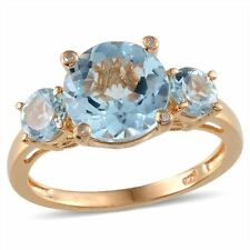 5.75Cts Sky Blue Topaz Trilogy & Diamond 14K Y Gold/925 Ring Size N