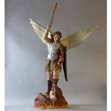 "Saint St. Michael with Fire Sword 38""Painted Christian Catholic sculpture statue"