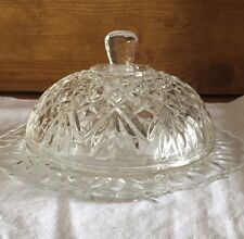 Vintage Beautiful Round Press Glass Butter Cheese Dish