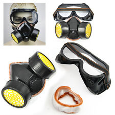 2pc Spray Paint Twin Cartridge Respirator Mask/Goggles Paint Kit Fumes Kept Out