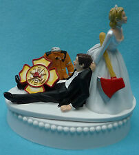 Wedding Cake Topper Fireman Firefighter Logo Axe Themed Bride Groom Occupation
