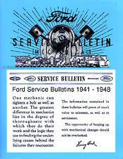 Ford Mercury Service Bulletin Repair Manual 1941 1942 1946 1947 1948 Car Truck