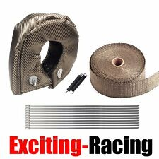 "T3 Turbo Heat Shield Blanket Cover Titanium + Manifold Exhaust Wrap 2"" X 15M"