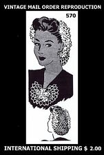 Vintage Womens Victorian 1940s Crochet Hair Hairpiece SNOOD & JABOT Pattern #570