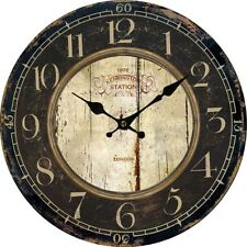 BEST Antique Clock Wall Rustic Vintage Style Wooden Round Clocks Large Art Home