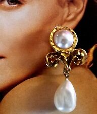 Made in FRANCE Large 1980's Vintage Gold Tone Dangle Clip Faux Pearl EARRINGS