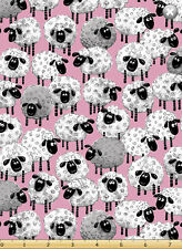"Susybee's Lewe sheep all over pink 100% cotton 42"" X 36"" fabric by the yard"