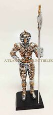 "DOLL HOUSE MINIATURE 4"" MEDIEVAL KNIGHT LONG HALBERDIER STATUE SUIT OF ARMOR"