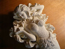 Large White Flowing Hair Mermaid with Starfish Necklace Sculpture Wall Decor NEW