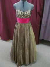 Partytime Sz 10 Animal Print w/Pink Beaded Long Formal Bridesmaid Prom Dress F-3
