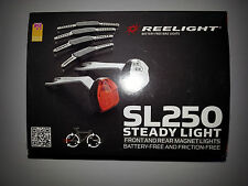 New Reelight SL250 bike bicycle front & rear light set no batteries