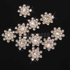 10 Pearl Crystal Rhinestone Buttons Flower Flatback Wedding Craft Embellishment