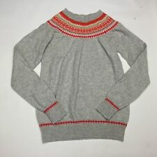BODEN ~ 100% WOOL FAIRISLE YOKE JUMPER, PALE GREY  - SIZE 6