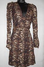 New Maje leopard print with deep v-neck dress Size 2, UK10 RRP £229