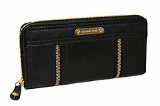 NEW-MICHAEL KORS MOXLEY BLACK LEATHER+GOLD TONE CONTINENTAL ZIP CLUTCH WALLET