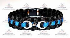 """Standard Paracord Survival Bracelet """"Thin Blue Line"""" with Handcuff Charm"""