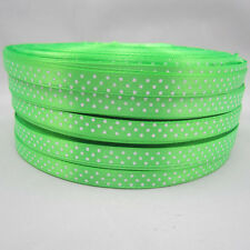 "New Bulk 10 Yards 3/8"" 10mm Green Polka Dot Ribbon Satin Craft Supplies Hot %AA"