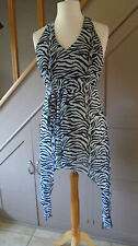 JOSEPH RIBKOFF Halter Neck Empire Line Zebra Print Top Tunic UK10 Black & White