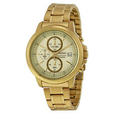 Seiko Chronograph Champagne Dial Gold-plated Mens Watch SKS450