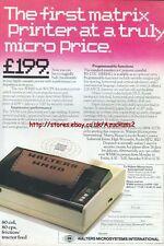 "Walters Matrix WM80 Printer ""Vintage Hardware"" 1983 Magazine Advert #5070"