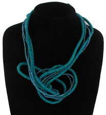 Necklace Sculpture Statement Crazy Wire Beaded Wood Turquoise Blue
