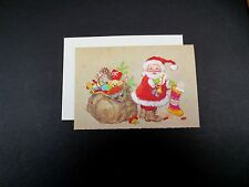 Vintage Unused Xmas Greeting Card Santa Packing Toys in his Big Bag