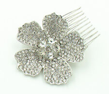 Diamante Bridal White Rhinestones Big Flower Hair Comb Wedding Accessories HA192