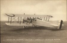 Airplane Aeroplane Caudron Type C-33 Landaulet Monsieur Madame c1915 Postcard