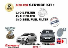 FOR TOYOTA COROLLA + VERSO 2.0DT D4D 2001-2007  OIL AIR FUEL  FILTER SERVICE KIT