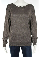 REBECCA TAYLOR Brown Rose Gold Metallic Boat Neck Knit Sweater Sz L
