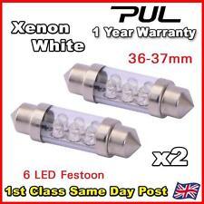 2x 36mm 37mm XENON WHITE Interior Number Plate light FESTOON BULB 6 LED 239 272c