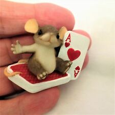 Detailed Mouse Brooch Charming Tails Mouse On Deck of Cards Ace of Heart Brooch