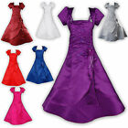New Satin Bridesmaid Flower Girls Dress+Bolero in 7 Colours from 2 to 13 Years