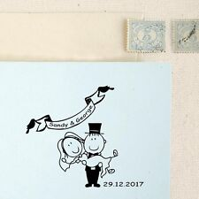 Personalized Custom Handle Mounted Rubber Stamp Save the date Name Wedding RE747